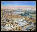 Birds view of Jerusalem covered with snow by Alex Levin