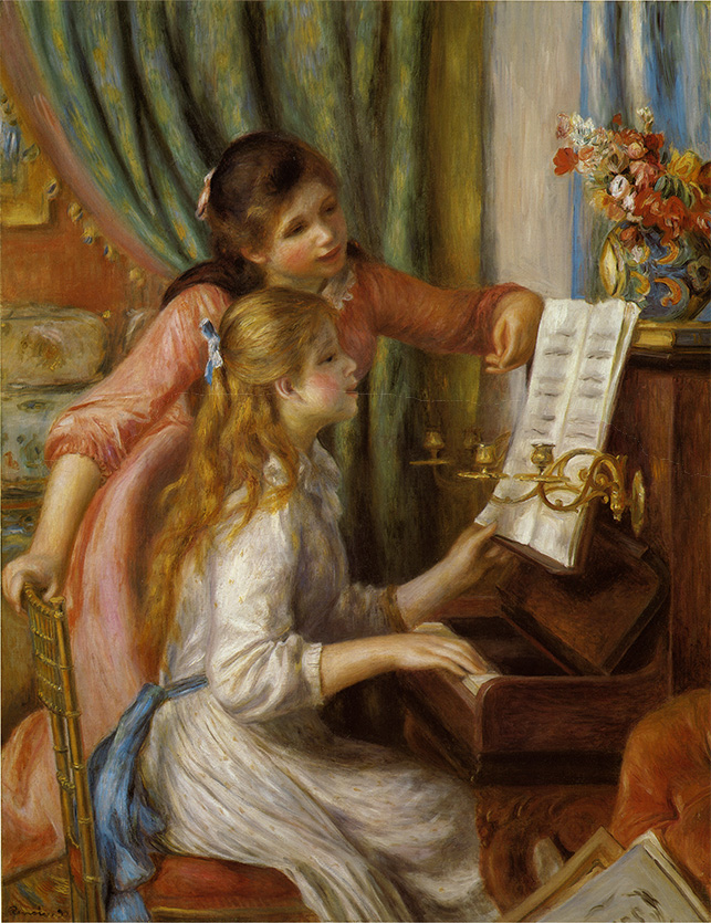 Two Young Girls At The Piano.Renoir copy by Surpin..