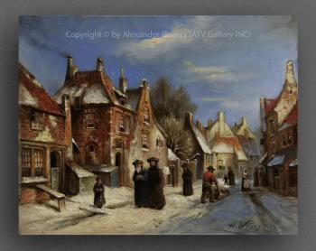 Town In Winter. by H. Weiss