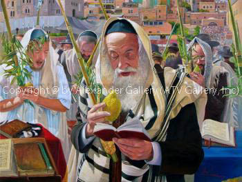 Sukkot Praying By The Kotel by Alex Levin