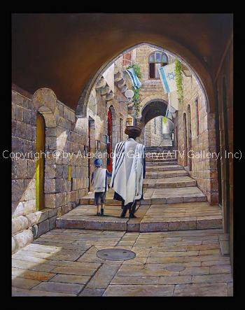 Shabbat at the Jewish Quarter in Jerusalem by Alex Levin