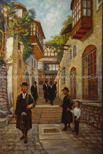 Way to Synagogue Safed. by Venyamin Zaslavsky