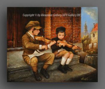 The Boy`s With Violin II. by H. Weiss