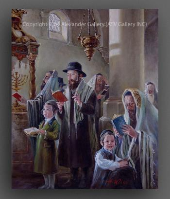In Synagogue. by H. Weiss