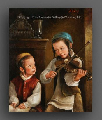 The Boy`s With Violin. by H. Weiss