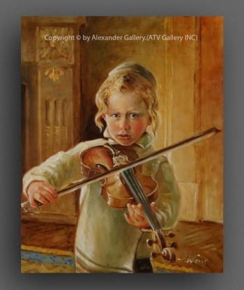 The Boy With Violin. by H. Weiss